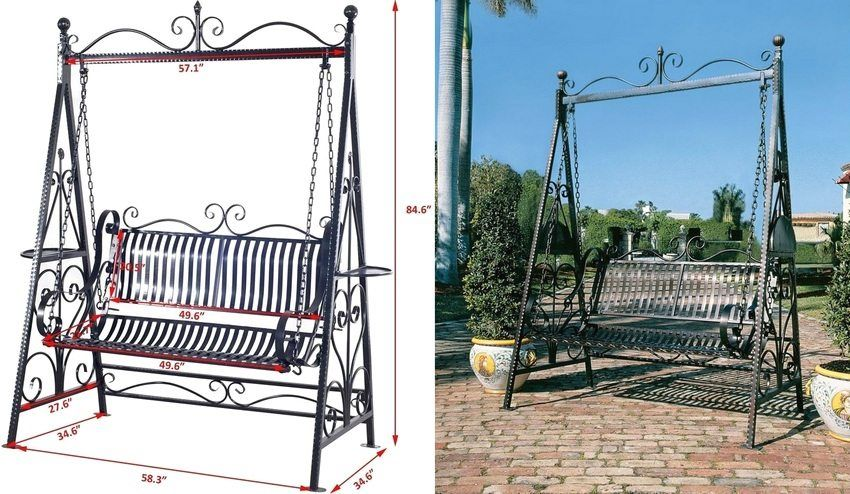 Drawings and photos of the garden swing with your own hands made of metal: dimensions and instructions for creating