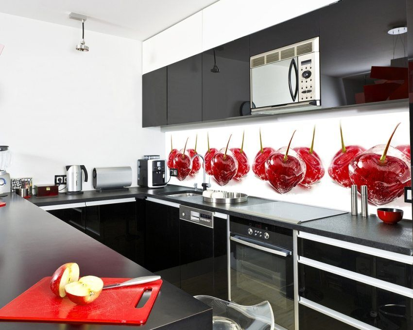 Aprons for the kitchen, skinali: photos of the best design ideas