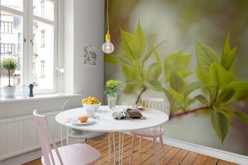 Wall mural expanding the space in the design of a modern apartment