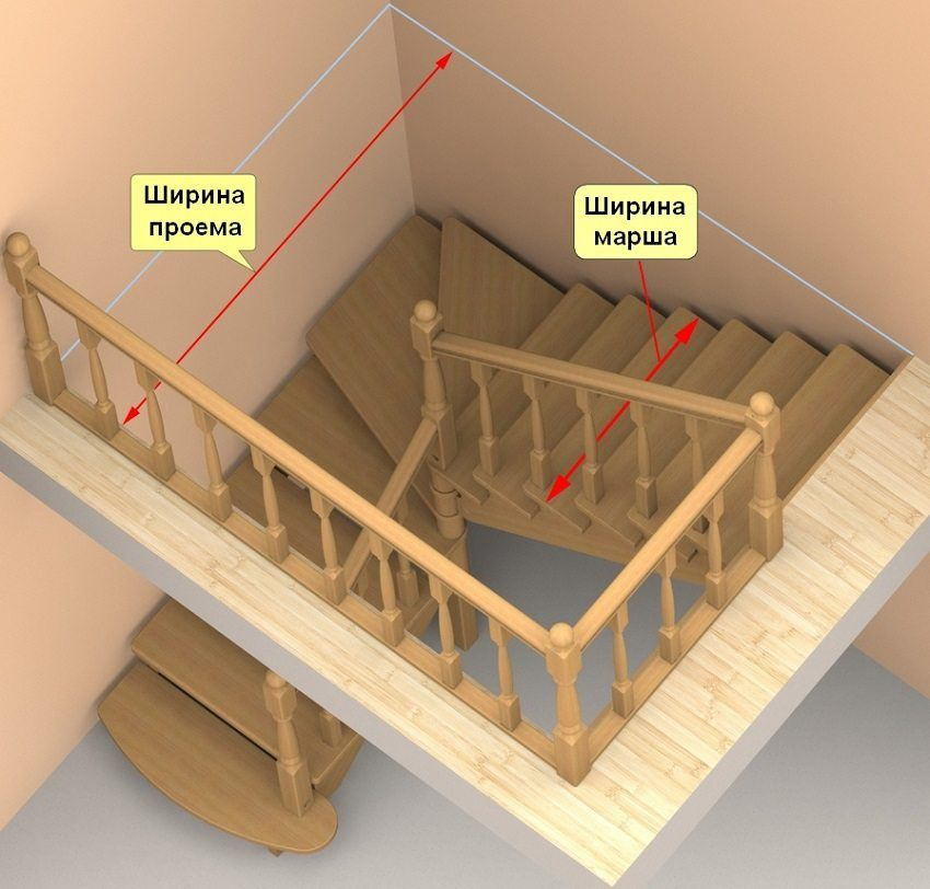 Staircase to the second floor do it yourself from wood with a turn