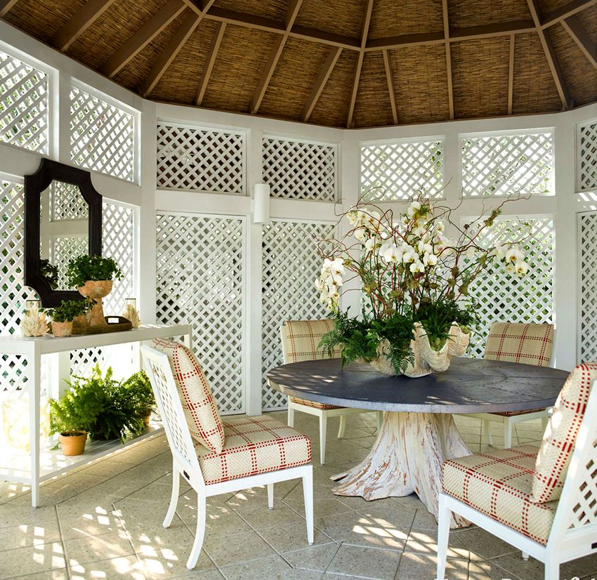 Furniture for gazebos: comfort and harmony in combination with elegance
