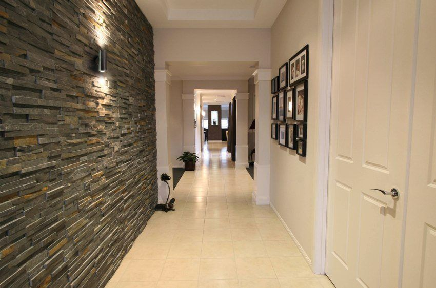 Decorating the hallway with decorative stone and wallpaper. Photos of finished works