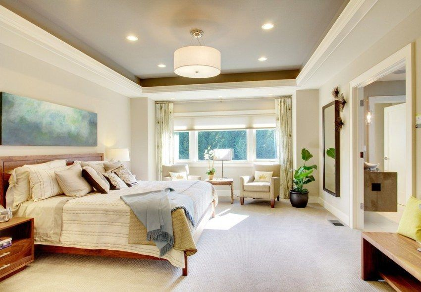 Ceilings for the bedroom of plasterboard: photo and installation process