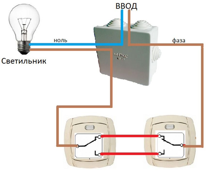 Pass-through switch: device wiring diagram from different places