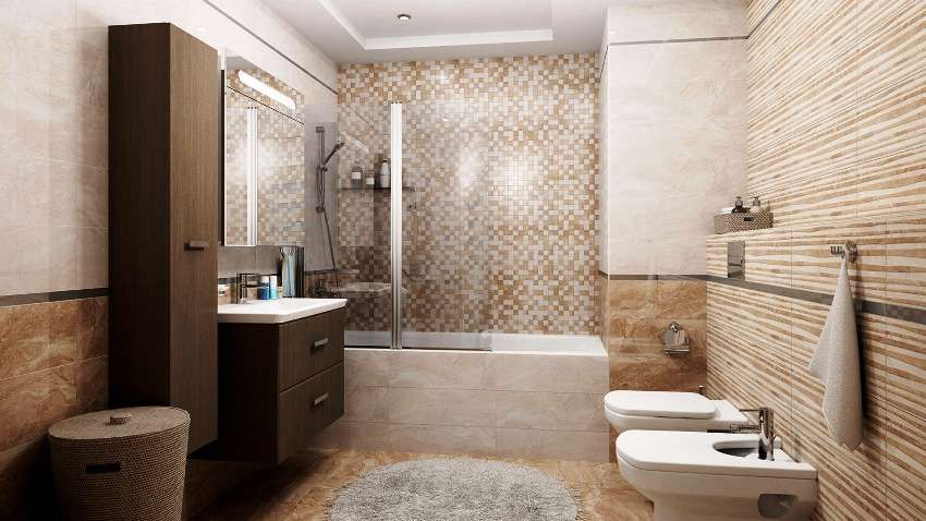 Combined bathroom: interior design, layout and design