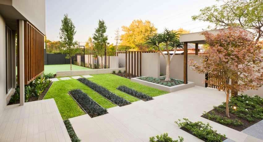 Landscape Design Courtyard Of A Private House. Photos Of Modern Courtyards  And Plots
